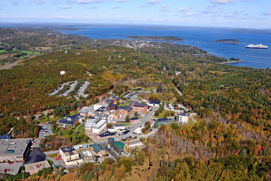 Ariel view of Bar Harbor Campus along the coast of Mount Desert Island