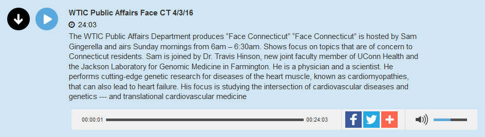 WTIC Travis Hinson of The Jackson Laboratory on Face Connecticut April 2016