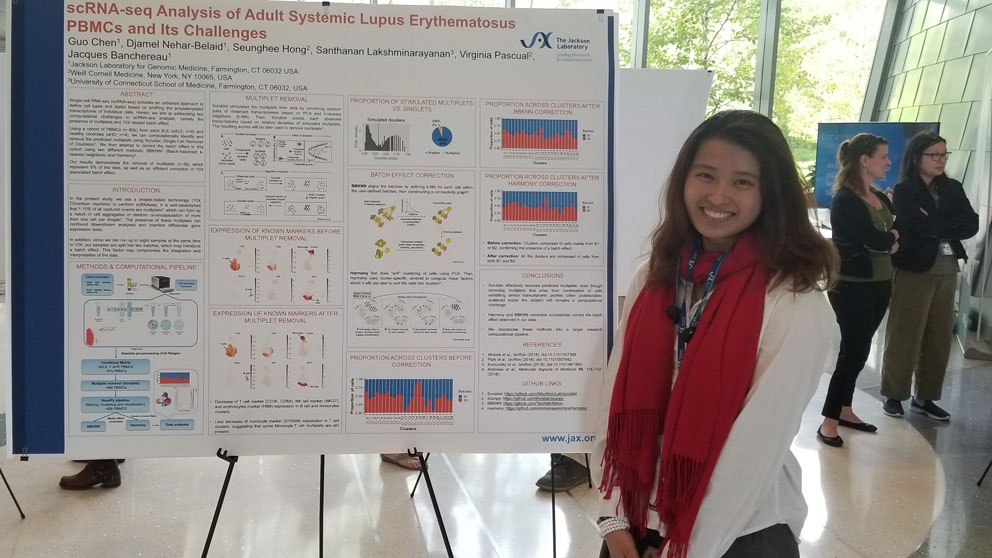 JAX intern Isabelle Chen, a senior at The Ethel Walker School, presents her research on lupus.