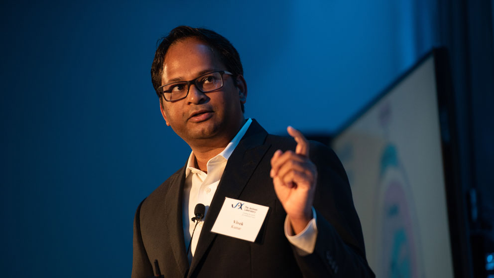 Associate Professor Vivek Kumar, Ph.D. gave a TED-style talk on addiction as part of the Laboratory's JAXtaposition speaker series.