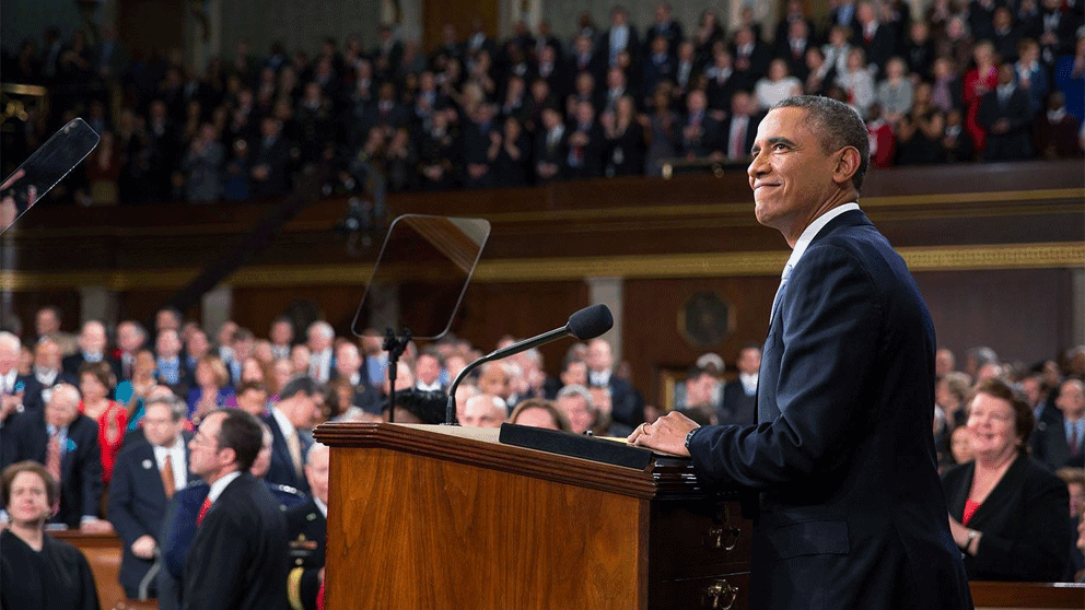President Obama at the 2015 State of the Union address